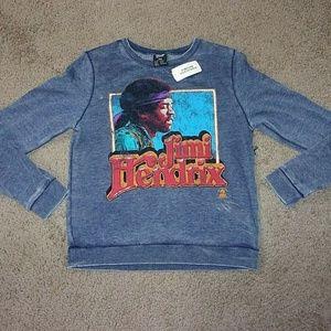 Jimi Hendrix Long Sleeve T Shirt Blue Burnout